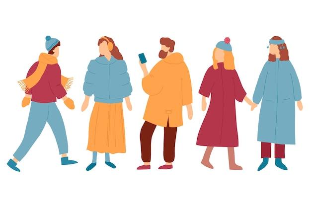 Kolekcja młodych ludzi noszących zimowe ubrania