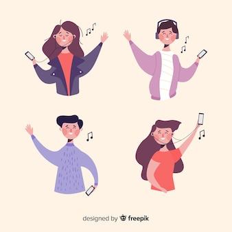 Kolekcja młodych ludzi słuchających muzyki