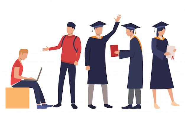 Kolekcja młodych studentów w sukniach dyplomowych