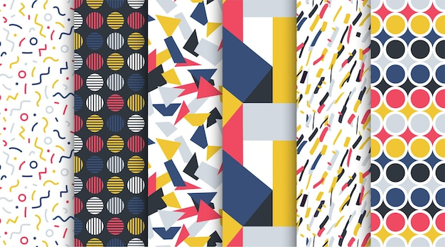 Kolekcja modnych bezszwowych kolorowych wzorów abstrakcyjne tła retro w stylu mody 8090s