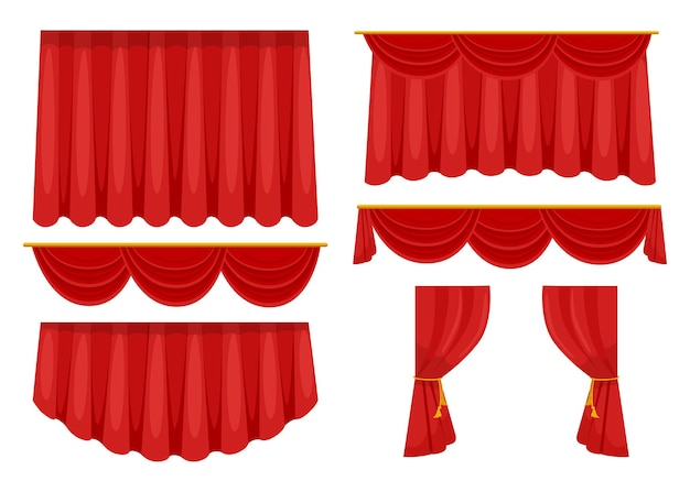 Kolekcja modnych czerwonych zasłon na płaskich zdjęciach