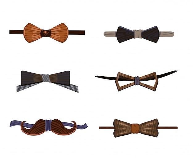 Kolekcja modnych drewnianych much hipster