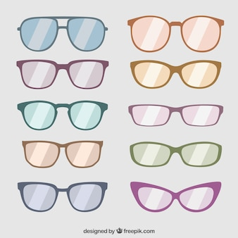 Kolekcja modnych okularach