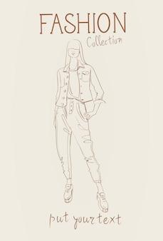 Kolekcja mody odzieży damskiej zestaw modelek w modnych ubraniach szkic
