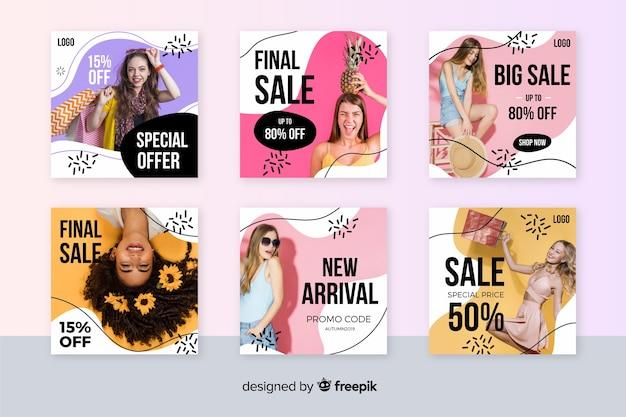 Kolekcja mody streszczenie sprzedaż instagram post