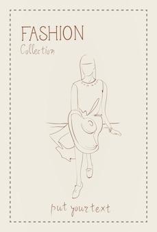 Kolekcja mody ubrań modelki na sobie modne ubrania szkic