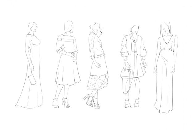 Kolekcja mody ubrania zestaw modelek płci męskiej i żeńskiej na sobie modne ubrania szkic