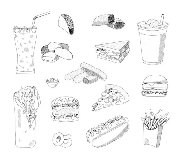 Kolekcja monochromatycznych ilustracji fast foodów w stylu szkicu