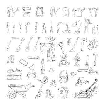 Kolekcja monochromatycznych ilustracji narzędzi ogrodniczych w stylu szkicu