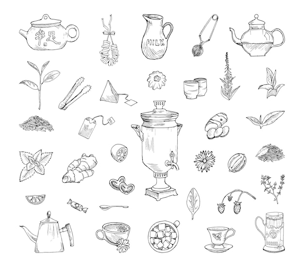 Kolekcja monochromatycznych ilustracji picia herbaty w stylu szkicu