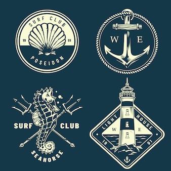 Kolekcja monochromatycznych logo morskich