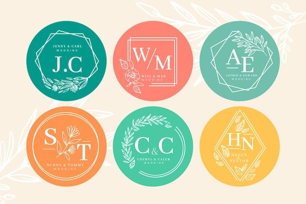 Kolekcja monogram kolorowy ślub