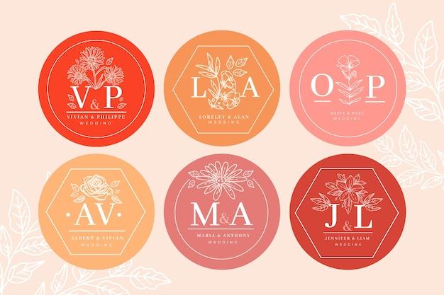 Kolekcja monogram kwiatowy wesele