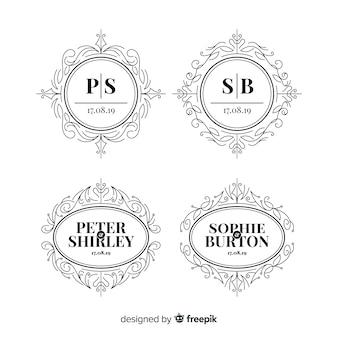 Kolekcja monogramów logo ślubu