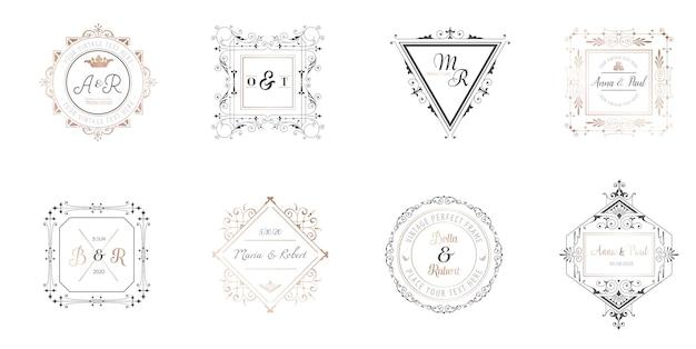 Kolekcja monogramów ślubnych, szablony art deco retro dla zaproszeń, zapisz datę, tożsamość logo dla restauracji, butiku, kawiarni w wektorze