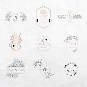 Kolekcja monogramów ślubnych, szablony kwiatowe na zaproszenia, zapisywanie daty, tożsamość logo dla restauracji, butiku, kawiarni w wektorze