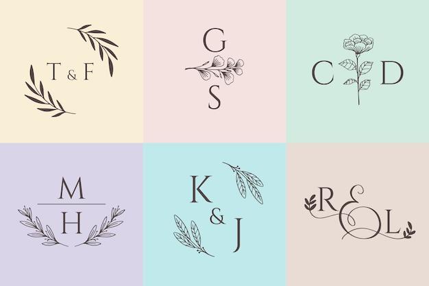 Kolekcja monogramów ślubnych w pastelowych kolorach