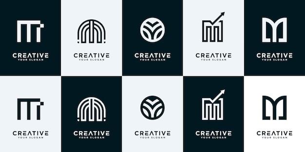 Kolekcja Monogramu Początkowej Litery M Zestaw. Kreatywny Znak Listu Logo Projekt Symbolu. Premium Wektorów