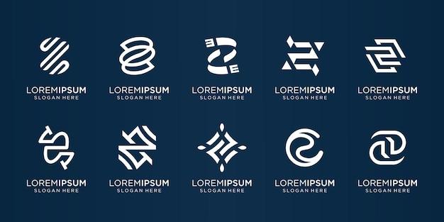 Kolekcja monogramu projekt logo z kreatywny początkowy znak litery z elegancki styl sztuki linii abstrakcja premium vector