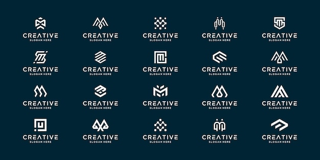 Kolekcja monogramu zestaw początkowej litery m. creative list znak logo symbol projektu.