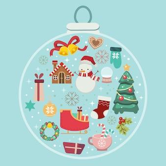 Kolekcja motywu świątecznego osadzona w bombce. bałwan piernikowy świąteczny wieniec holly liść dzwon dzwon prezentowe cukierki w świąteczną piłkę