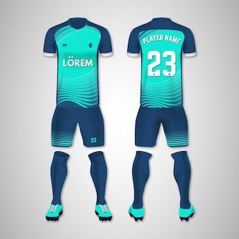 Kolekcja mundurów piłkarskich z przodu iz tyłu