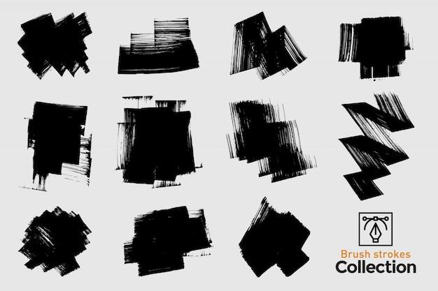 Kolekcja na białym tle pociągnięcia pędzlem. czarne ręcznie malowane pociągnięcia pędzlem. grunge