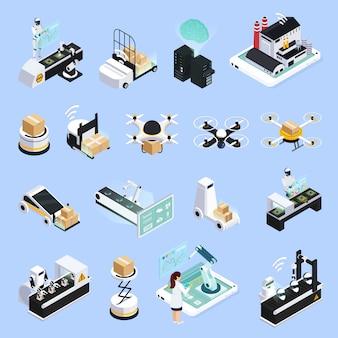 Kolekcja na białym tle smart production