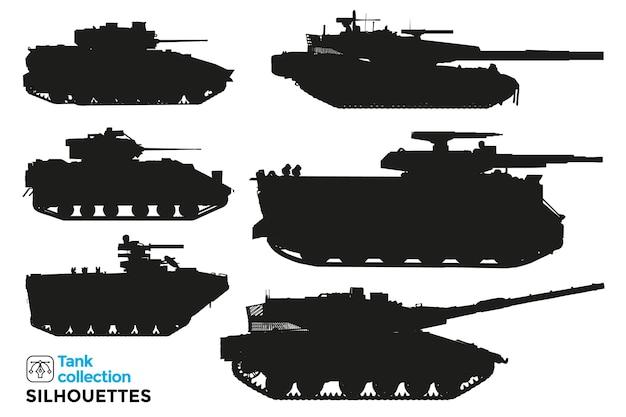 Kolekcja na białym tle sylwetki czołgów wojskowych