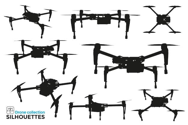 Kolekcja na białym tle sylwetki drona w różnych widokach. wysoka szczegółowość. zasoby graficzne.