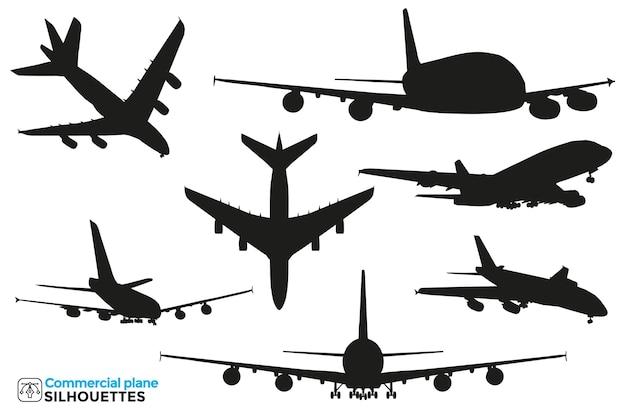 Kolekcja na białym tle sylwetki komercyjnego samolotu w różnych widokach.