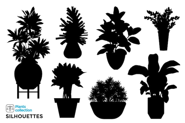 Kolekcja na białym tle sylwetki roślin i drzew w doniczkach ogrodowych