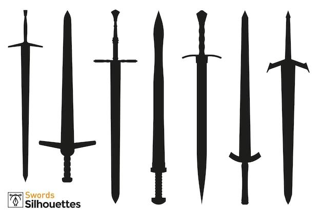 Kolekcja na białym tle sylwetki różnych mieczy średniowiecznych i fantasy.