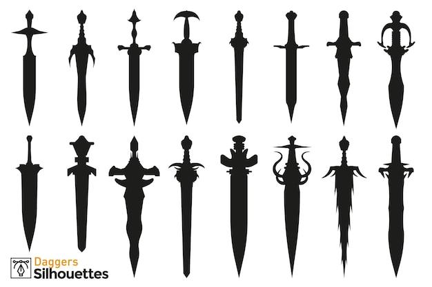 Kolekcja na białym tle sylwetki różnych sztyletów średniowiecznych i fantasy.