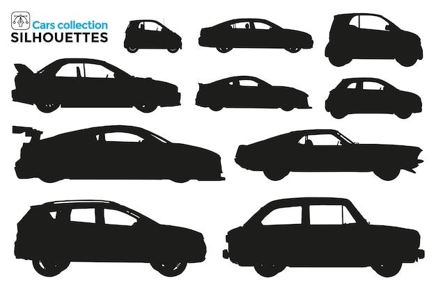 Kolekcja na białym tle sylwetki różnych typów samochodów