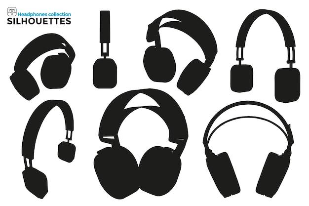 Kolekcja na białym tle sylwetki słuchawek z pałąkiem na głowę w różnych widokach