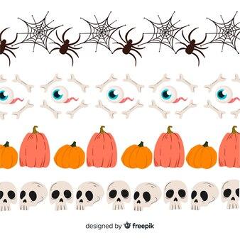 Kolekcja na halloween z pająkami i czaszkami