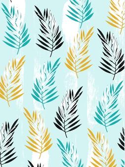 Kolekcja na kolorowych liściach letnia grafika dekoracyjna