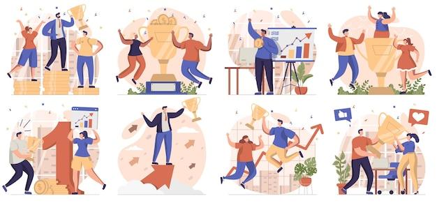 Kolekcja nagród biznesowych scen na białym tle ludzie świętujący sukces osiągający cele i wygrywający