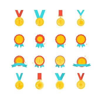 Kolekcja nagród złoty medal na białym tle