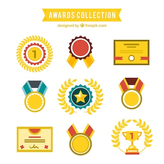 Kolekcja nagroda w płaskiej konstrukcji