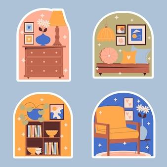 Kolekcja naiwnych naklejek dekoracyjnych do domu