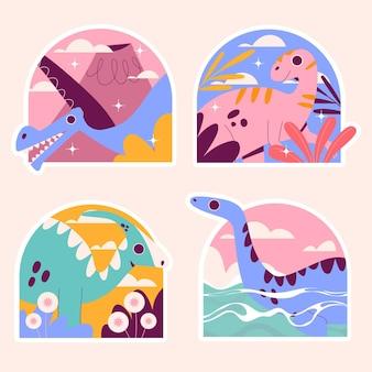 Kolekcja naiwnych naklejek dinozaurów