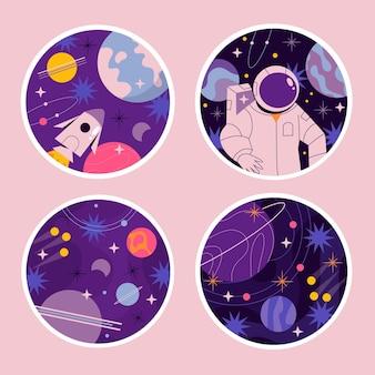 Kolekcja naiwnych naklejek wszechświata