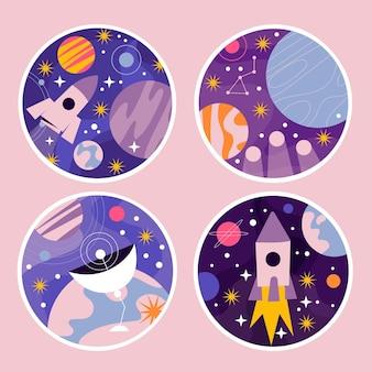 Kolekcja Naiwnych Naklejek Wszechświata Darmowych Wektorów