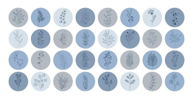 Kolekcja najważniejszych okładek na instagram z roślinami tropikalnymi, liśćmi i gałęziami z kwiatami.