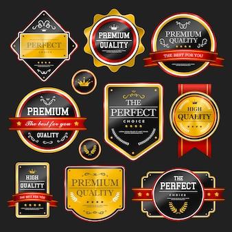 Kolekcja najwyższej jakości błyszczących złotych etykiet na czarno