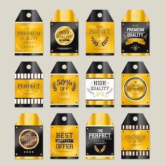 Kolekcja najwyższej jakości błyszczących złotych etykiet na szaro