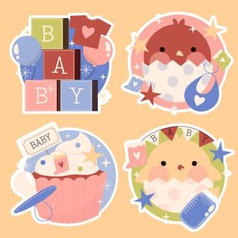 Kolekcja naklejek dla niemowląt w jasnych kolorach