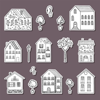 Kolekcja naklejek dom wiejski